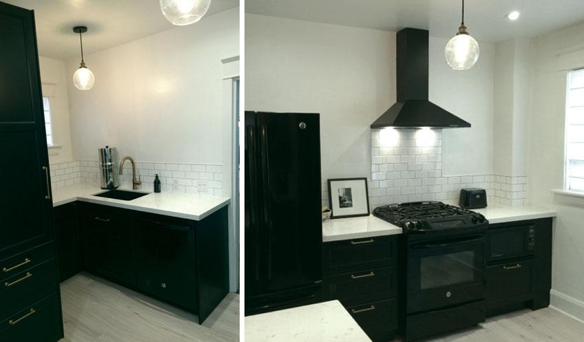 black white kitchen brass hardware no uppers
